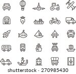outlined transports icon set in ... | Shutterstock .eps vector #270985430