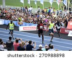 Small photo of Rio de Janeiro-Brazil april 19, 2015, Usain Bolt runs the 100 meters event during event on Jocky Club in Rio de Janeiro