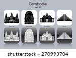 landmarks of cambodia. set of...
