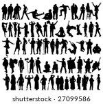 people silhouettes | Shutterstock .eps vector #27099586