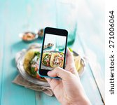 taking photo of tacos with... | Shutterstock . vector #271006064
