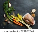 fresh chicken and vegetables on ... | Shutterstock . vector #271007069