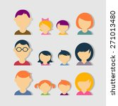 set of color flat family vector ... | Shutterstock .eps vector #271013480