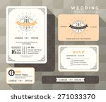vintage wedding invitation set... | Shutterstock .eps vector #271033370