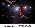 red basketball player in action ... | Shutterstock . vector #271063628