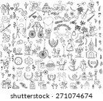 doodle wedding set for... | Shutterstock .eps vector #271074674