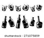 whiskey bottle and glass set.... | Shutterstock .eps vector #271075859