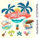 Set Of Summer Surfing Badges...