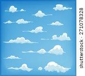 cartoon clouds set on blue sky...