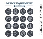 office equipment linear icons...