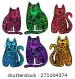 Vector Funny Cats With Floral...