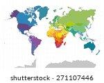 political world map on white... | Shutterstock . vector #271107446