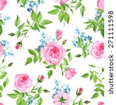 forget me nots and pink roses... | Shutterstock .eps vector #271111598