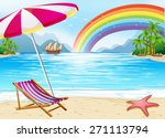 tropical beach holiday scene... | Shutterstock .eps vector #271113794