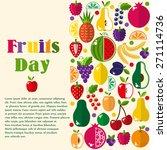 bright fruit set in flat style. ... | Shutterstock .eps vector #271114736