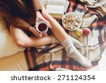 soft cozy photo of slim tan... | Shutterstock . vector #271124354