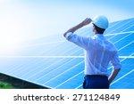 solar power plant. man standing ... | Shutterstock . vector #271124849