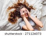 pretty blonde woman have fine... | Shutterstock . vector #271126073