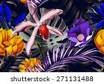 seamless tropical flower  plant ... | Shutterstock . vector #271131488