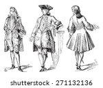 stylish  regency  court dress... | Shutterstock .eps vector #271132136