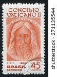 Small photo of BRAZIL - CIRCA 1966: stamp printed by Brazil, shows Face of Jesus from Shroud of Turin, circa 1966