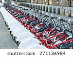 group of bicycles in the row.... | Shutterstock . vector #271136984