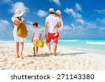 back view of a happy family at... | Shutterstock . vector #271143380