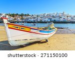 boats in warm sunset light on... | Shutterstock . vector #271150100