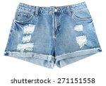Distressed Denim Shorts Ripped...