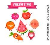 a set of cute fruit.... | Shutterstock .eps vector #271160426