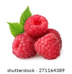 raspberries with leaves isolated | Shutterstock . vector #271164389