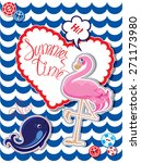 Funny Card With Pink Flamingo...