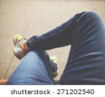 a hipster sitting downtown with ... | Shutterstock . vector #271202540