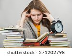 funny crazy  girl student with... | Shutterstock . vector #271202798