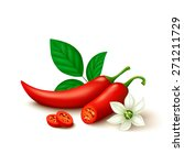 whole red chili pepper with... | Shutterstock .eps vector #271211729