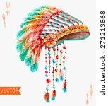 tribal indian hat  watercolor... | Shutterstock .eps vector #271213868