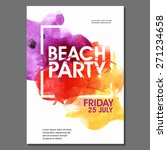 Summer Night Party Vector Flyer Template - EPS10 Design. Polygonal graphic. Watercolor spot. | Shutterstock vector #271234658