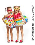 Happy Kids Swimsuit Inflatable Rings - Fine Art prints