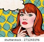 pop art illustration of redhead ... | Shutterstock . vector #271243196