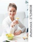 happy businesswoman during her...   Shutterstock . vector #271248038