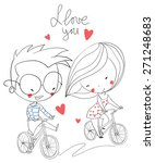 girl and boy biking. love card. | Shutterstock .eps vector #271248683
