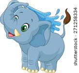 cartoon elephant spraying water | Shutterstock . vector #271258334