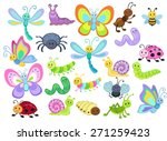 large vector set of cute... | Shutterstock .eps vector #271259423