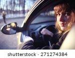 portrait of a girl in a car... | Shutterstock . vector #271274384