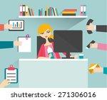 busy secretary woman managing... | Shutterstock .eps vector #271306016