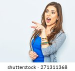 Small photo of Surprised woman finger pointing on copy space. Price down advertising concept. Amazement emotion.