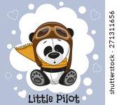 Cute Cartoon Panda In A Pilot...