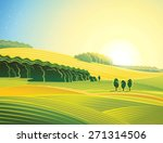 rural morning landscape with... | Shutterstock . vector #271314506