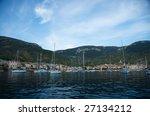 Anchorage in front of Komiza in Vis island, Croatia - stock photo