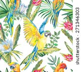 parrots and exotic flowers.... | Shutterstock . vector #271346303